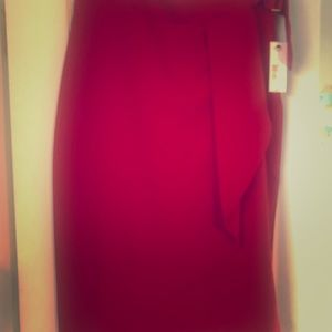 Red slim skirt with pleat detail